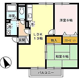 ガーデンスクエア B[B202号室]の間取り