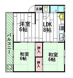 千里マンションA棟[4階]の間取り