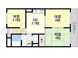 森岡ビル 2階3DKの間取り