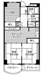 ビレッジハウス金沢タワー[602号室]の間取り