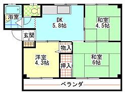 杭ノ瀬アパート[102号室]の間取り