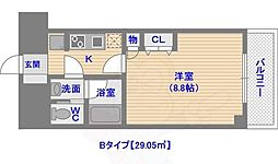 ドミール西新 5階1Kの間取り