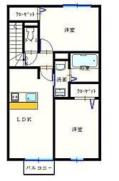 ユニティータウン安積[A202号室]の間取り