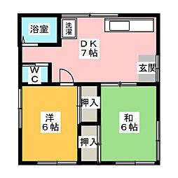 薩川アパート 第3[2階]の間取り