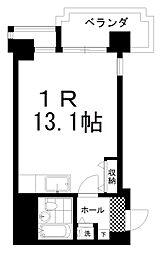 南大通4マンション 3階ワンルームの間取り