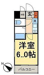 フォルトゥナ日本橋 4階1Kの間取り