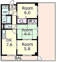 東洋マンション[6階]の間取り