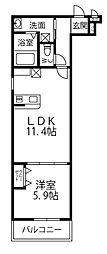 フジパレス上牧駅前 2階1LDKの間取り
