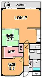 奈良県奈良市神殿町の賃貸マンションの間取り