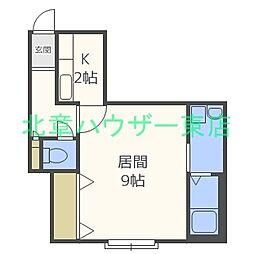 札幌市営東豊線 北13条東駅 徒歩5分の賃貸アパート 3階1Kの間取り