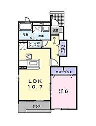 埼玉県所沢市小手指南1丁目の賃貸アパートの間取り