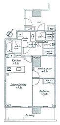 ルフォン白金台ザ・タワーレジデンス 16階1SLDKの間取り