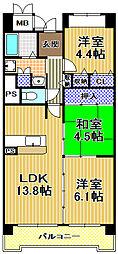 コーシャハイツ高見38[11階]の間取り