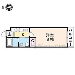 京都市営烏丸線 九条駅 徒歩4分の賃貸マンション 4階1Kの間取り