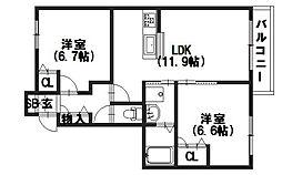 京都府向日市鶏冠井町稲葉の賃貸アパートの間取り