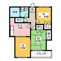 愛知県尾張旭市渋川町2丁目の賃貸マンションの間取り