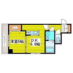 札幌市営南北線 北18条駅 徒歩10分の賃貸マンション 7階1DKの間取り