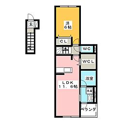 ラウレア130ヒルズ 2階1LDKの間取り