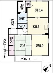 メゾンパークス C棟[2階]の間取り