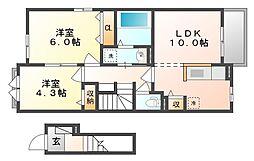 岡山県浅口市鴨方町六条院中の賃貸アパートの間取り