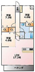 ロジュマンヴェール若草[4階]の間取り