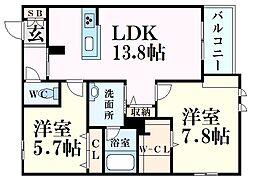 JR東海道・山陽本線 甲南山手駅 徒歩10分の賃貸マンション 2階2LDKの間取り