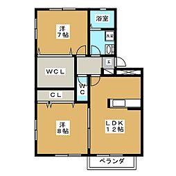 コーポ煌 1号館[2階]の間取り