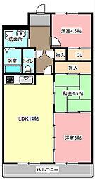 静岡県浜松市東区原島町の賃貸マンションの間取り
