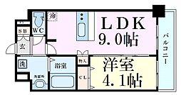 京阪本線 天満橋駅 徒歩5分の賃貸マンション 12階1LDKの間取り