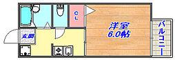 兵庫県神戸市灘区岩屋北町1丁目の賃貸アパートの間取り