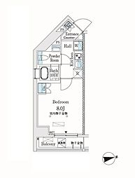 市谷仲之町ビューアパートメント 6階1Kの間取り