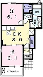 グレイスカレント成田I 1階2DKの間取り