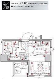 Le'a MARKS横濱参番館 6階ワンルームの間取り