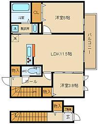 D−room北本町(仮)[201号室]の間取り