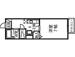プリシェール味園II[1階]の間取り