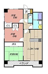 穴生ペットマンション[5階]の間取り