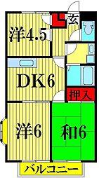 埼玉県越谷市東越谷8丁目の賃貸アパートの間取り