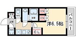 おおさか東線 JR淡路駅 徒歩5分の賃貸マンション 8階1Kの間取り