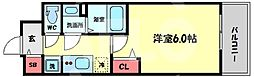 プレサンス天神橋六丁目ヴォワール 3階1Kの間取り