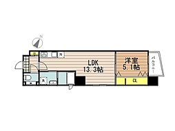 JR京浜東北・根岸線 さいたま新都心駅 徒歩10分の賃貸マンション 3階1LDKの間取り