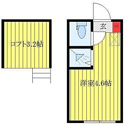 東武東上線 北池袋駅 徒歩10分の賃貸アパート 2階ワンルームの間取り