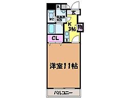 愛媛県松山市枝松5丁目の賃貸マンションの間取り