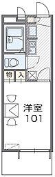 近鉄南大阪線 高鷲駅 徒歩33分の賃貸マンション 2階1Kの間取り