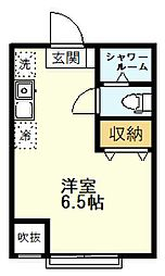 シエスタヴィラ久米川桜アヴェニュー 2階ワンルームの間取り