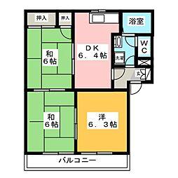サニーコートハザマ C棟[2階]の間取り