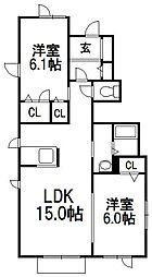 北海道札幌市手稲区富丘四条7丁目の賃貸アパートの間取り