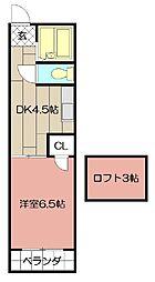 オアシス志井 B棟[203号室]の間取り