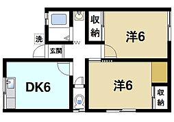 M'S天理田町 2階2DKの間取り