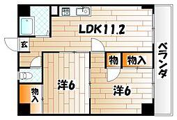 福岡県北九州市小倉北区片野5丁目の賃貸アパートの間取り