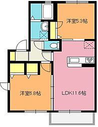 埼玉県上尾市上平中央3丁目の賃貸アパートの間取り